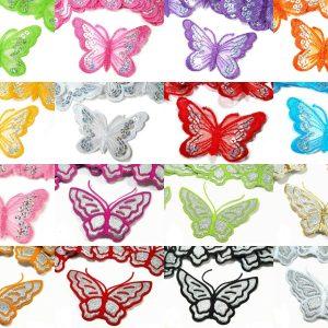 1126 Aufbuegler Schmetterling Pailletten Glitzer Uebersicht Beide Varianten