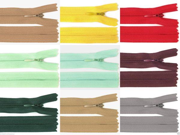 1179 Reissverschluss Verdeckt 45cm 3mm Uebersicht Farbvarianten