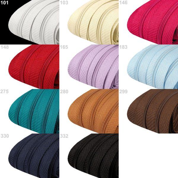 1600 Reissverschluss Set 200cm 3mm Uebersicht Farbvarianten