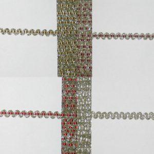 1083 Hochwertige Brokatborte 7mm Uebersicht Farben Rot Gold Bordeau Weiss