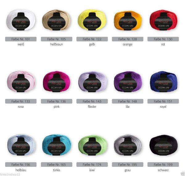 1395 Pro Lana Ocean Uni Uebersicht Farbnummern