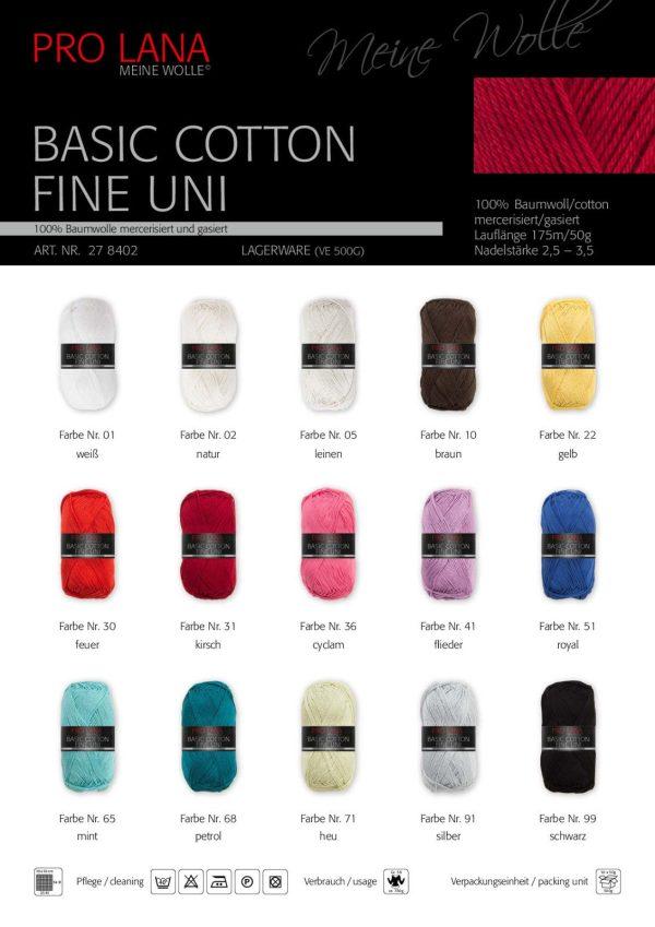 1507 PRO LANA Basic Cotton Fine Uni Uebersicht Farben